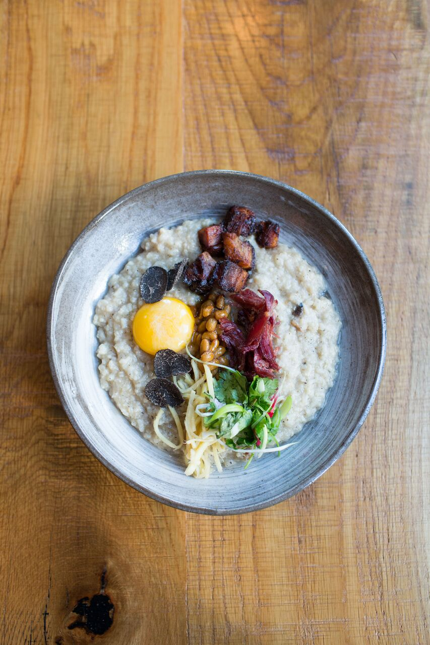 Breakfast congee bowl by Chef Tim Ma (Photograph by Reema Desai)