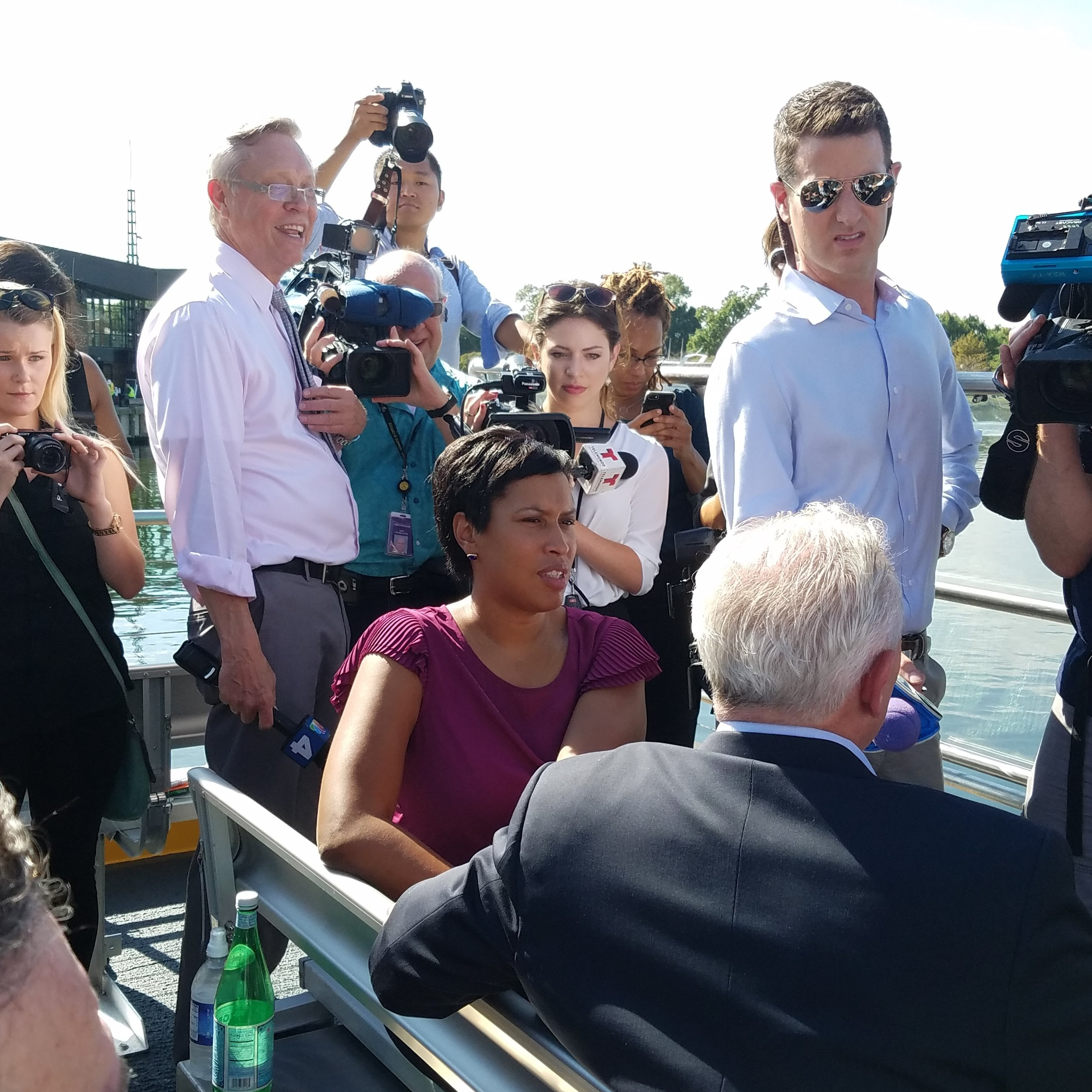 DC Mayor Muriel Bowser was on hand to talk to the press and take a ride at the launch of the Water Taxi service from the new transportation pier at The Wharf.