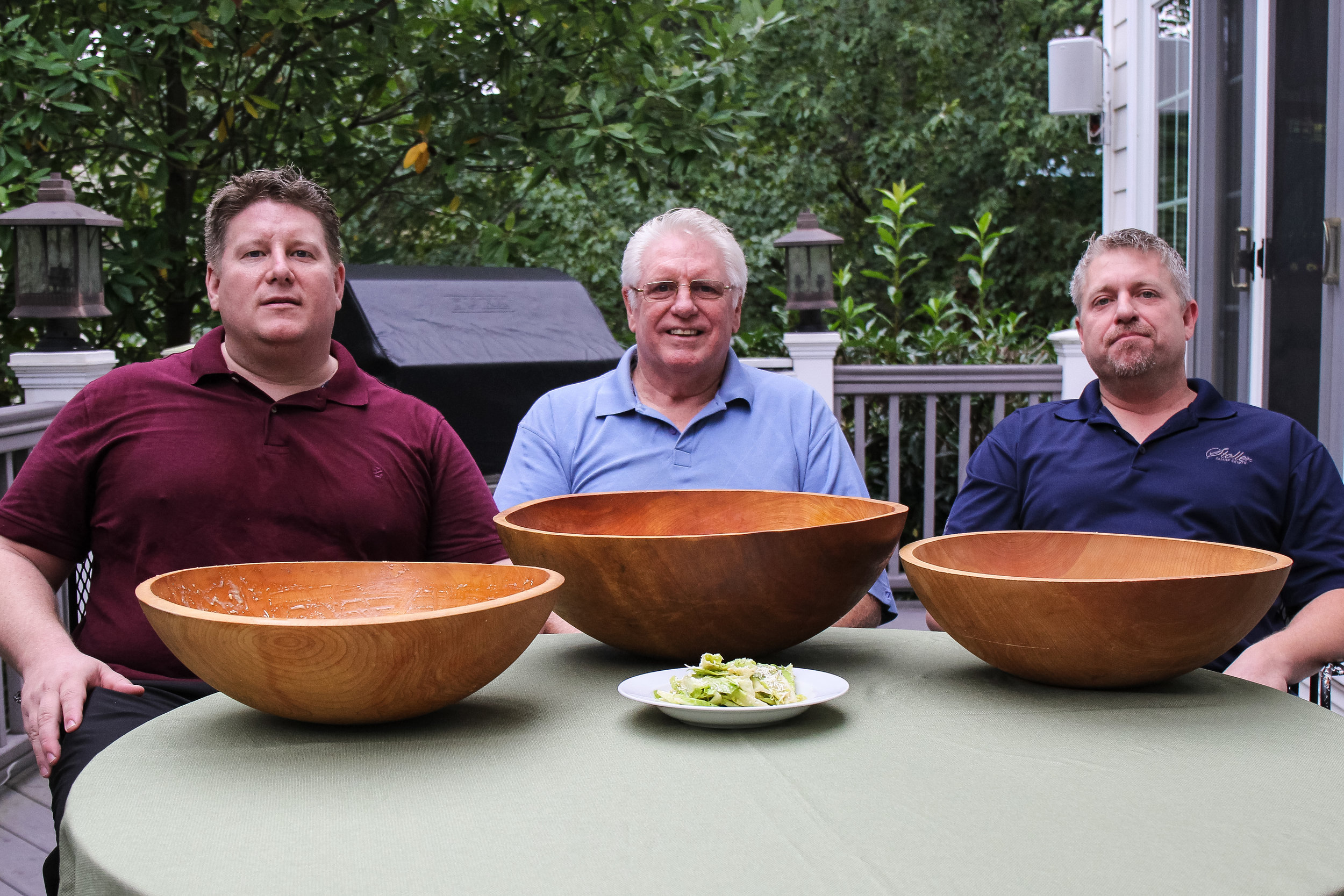 The Climes with their bowls. Christopher, Robert and Scott.