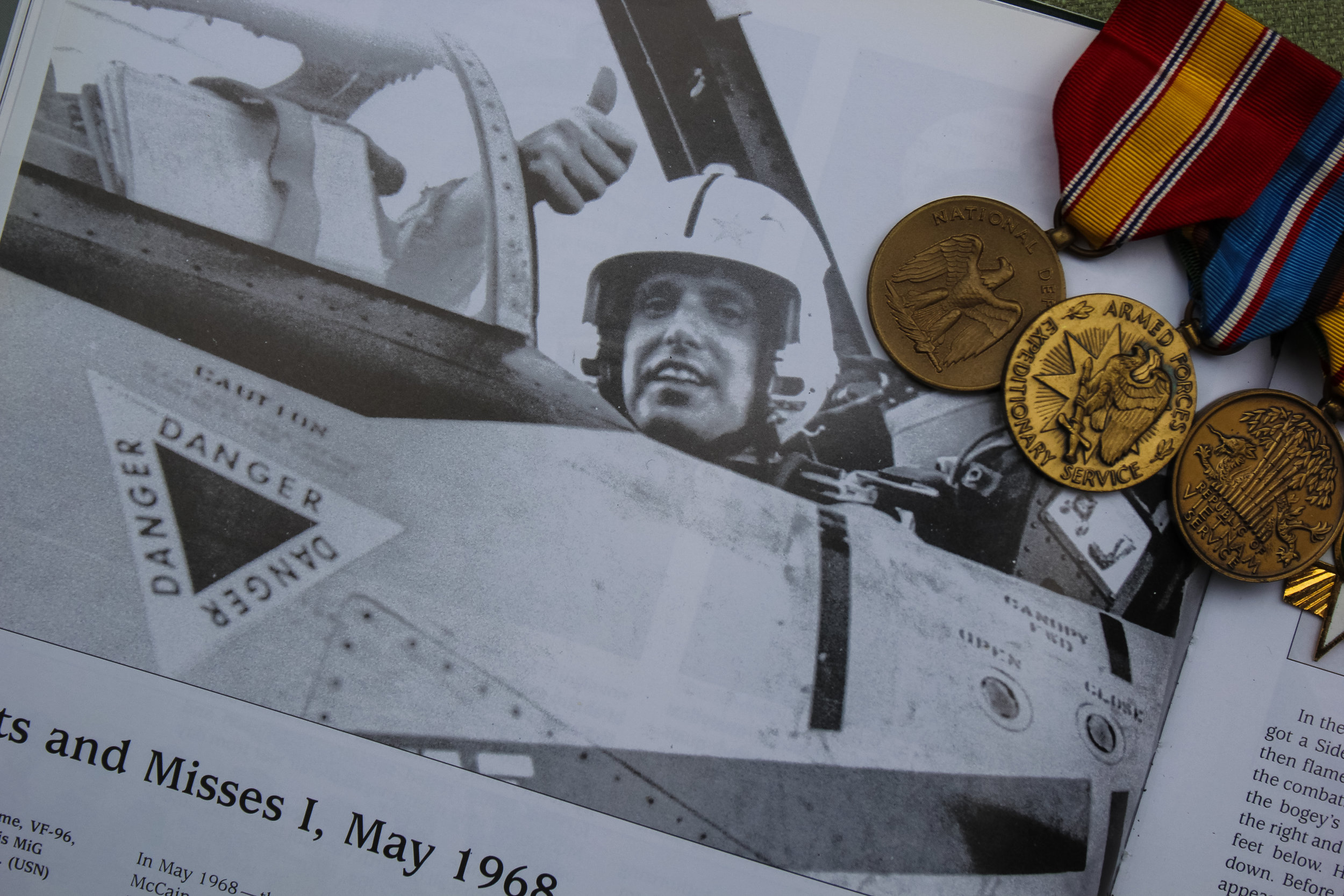 Mementos and metals from Robert Clime's naval service.