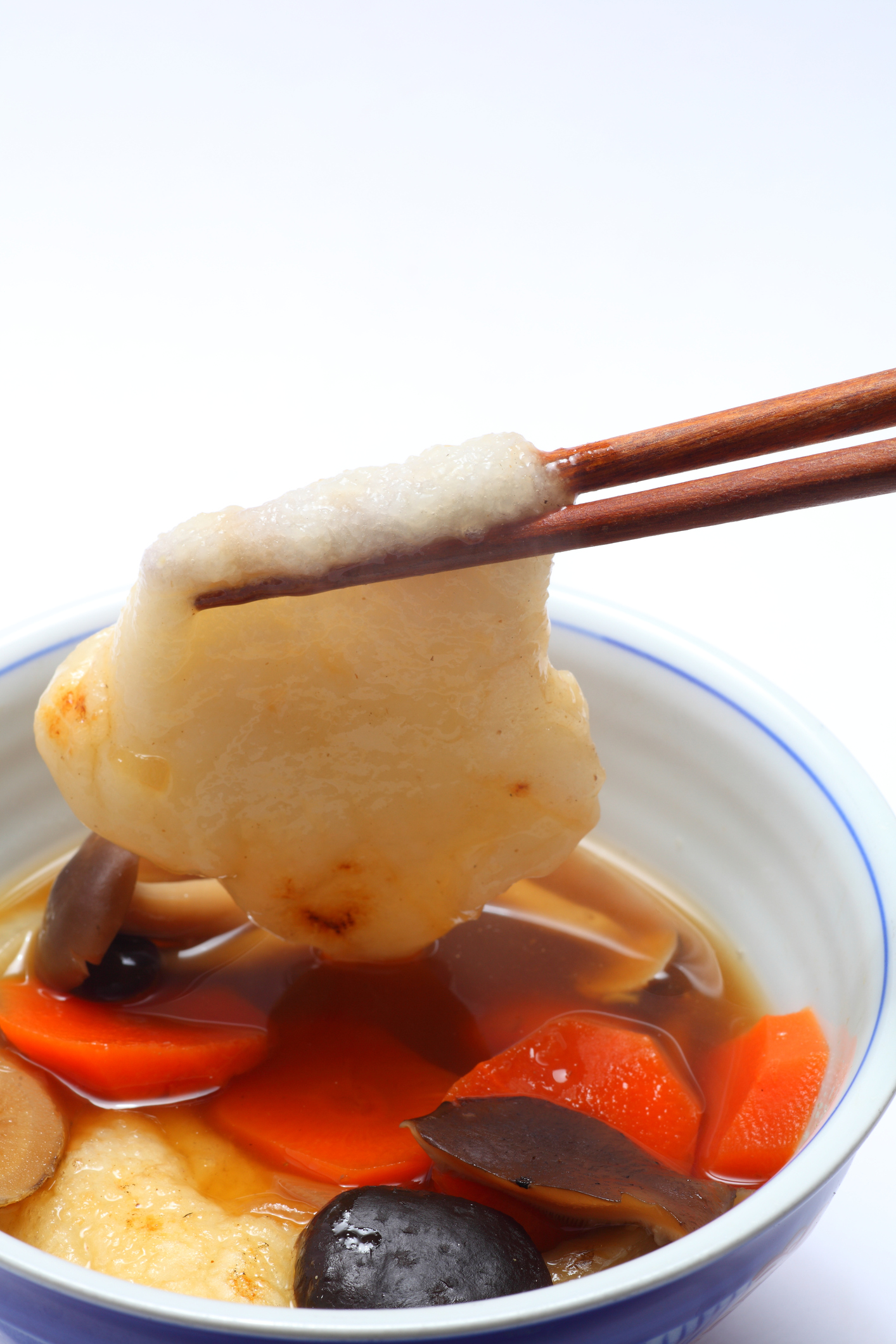 Mochi, a rice cake, is a key ingredient in zōni which is eaten on new year's day.