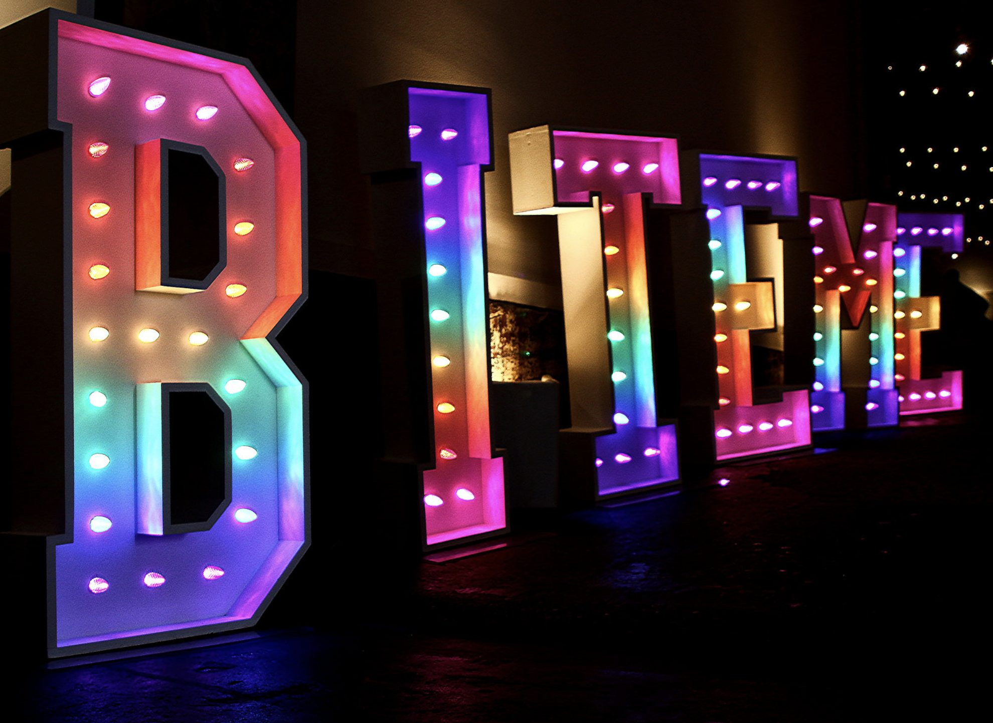 BITE ME marquee letters by BRIGHTLY Ever After.