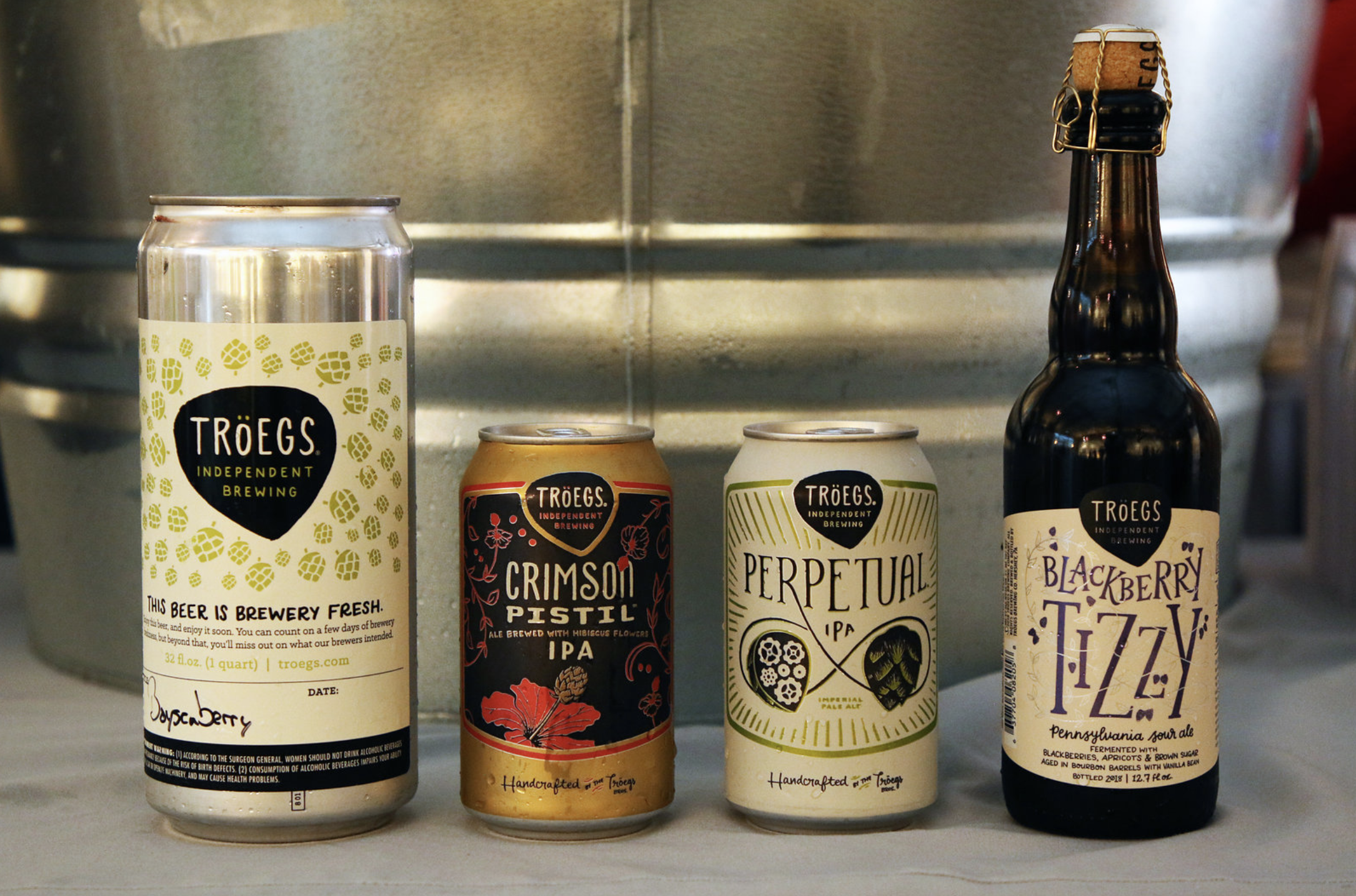 Troegs Brewing Co on deck with various beers including their Crimson Pistil IPA.