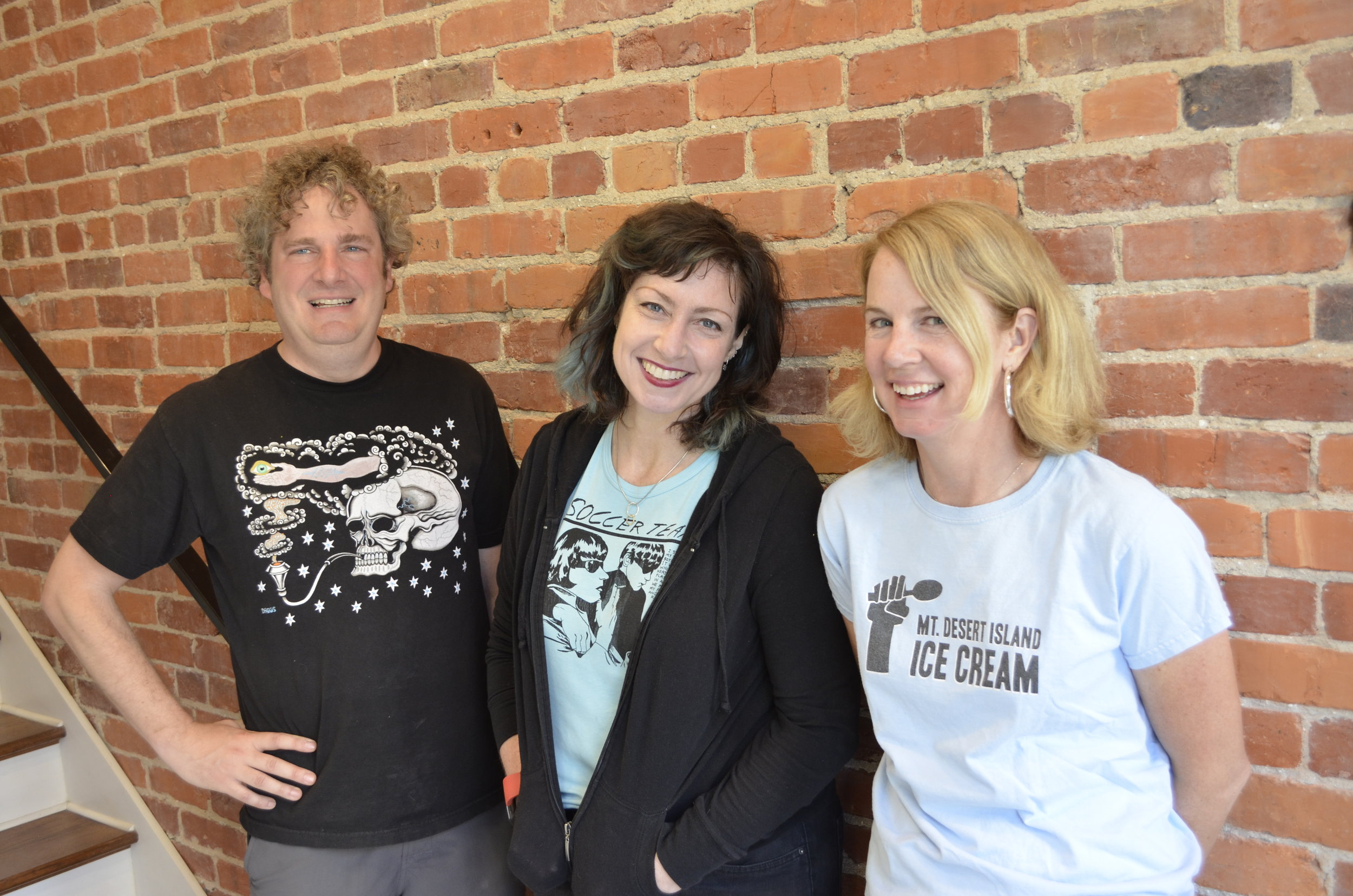 The mount desert ice cream team: Brian Lowit, Melissa Quinley, and Linda Parker