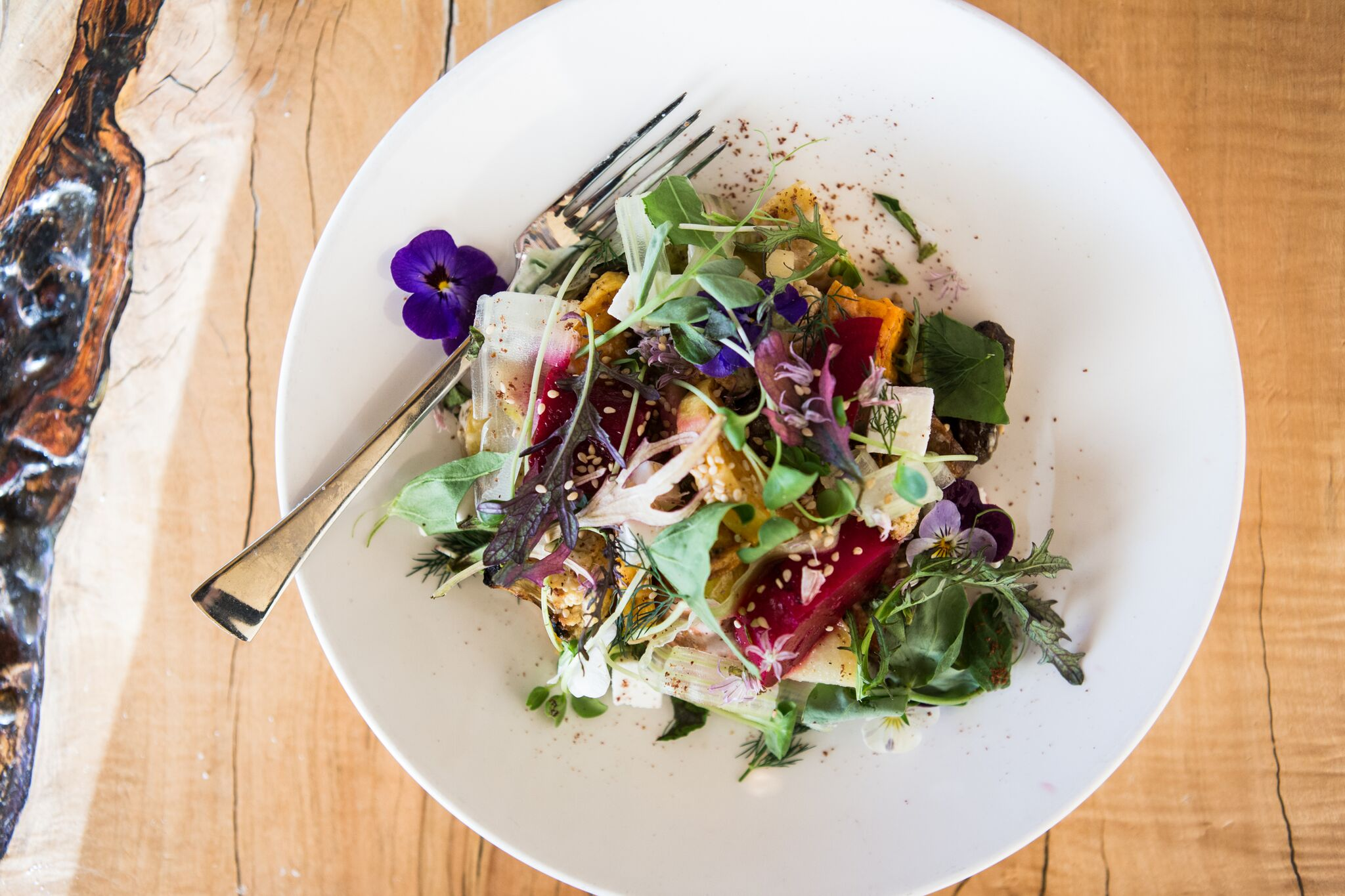 Vegetable salad at farm-to-table restaurant Local Roots