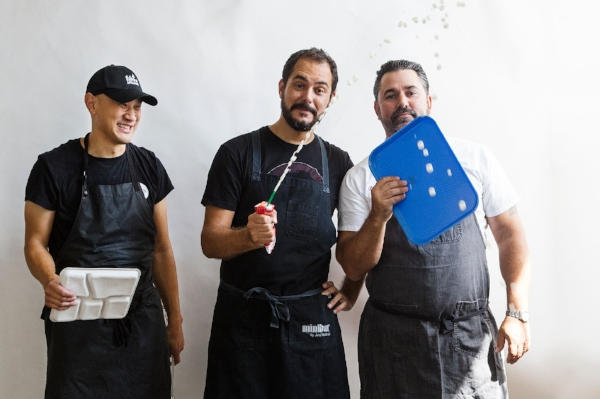 From left: Chefs Tim Ma, David Guas, and Ruben García were asked to rethink the traditional school lunch menu.