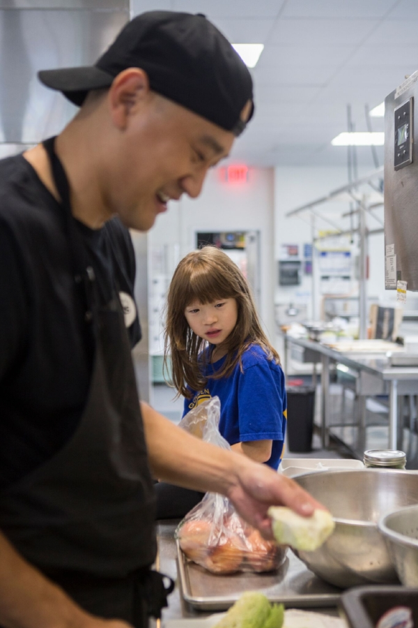 Chef Ma and plating with the help of his daughter Charlotte.