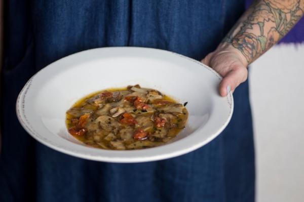 Trumpet mushroom fazzoletti makes for a hearty winter dish.