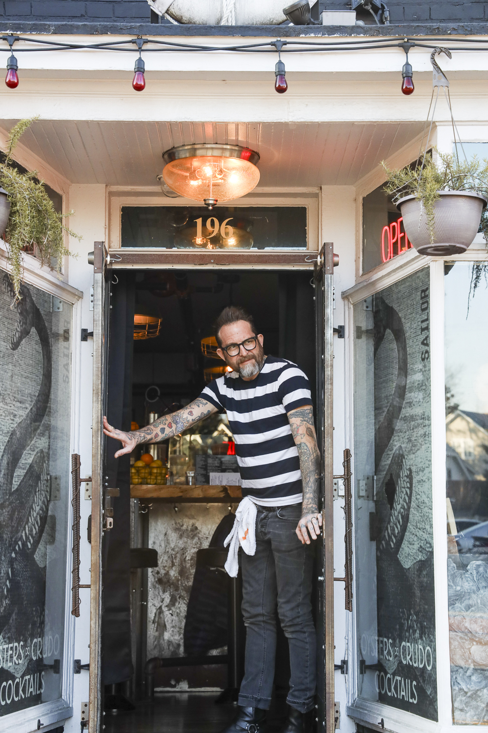 Scott Herbst welcomes guests to Sailor Oyster Bar.
