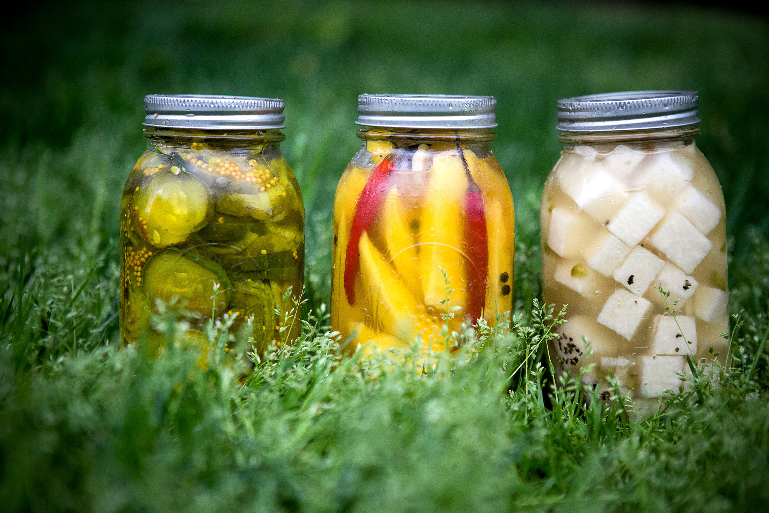 DIY Bread & Butter pickles, Pickled Mango and Pickled Jicama. Photo by Linda Wang.