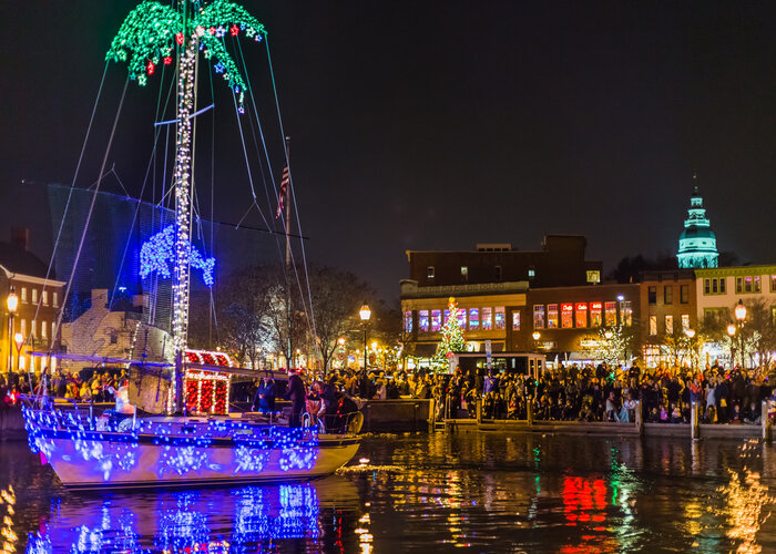 The Eastport Yacht Club Lights Parade dazzles waterfront revelers.