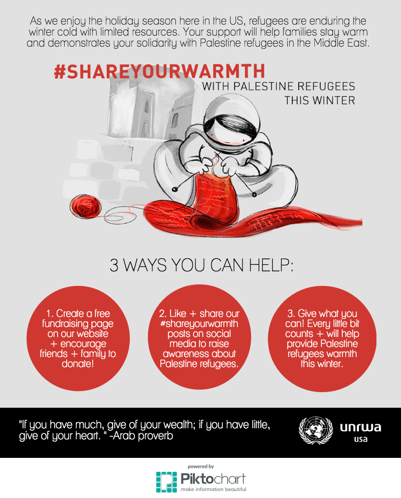#shareyourwarmth with Palestine refugees this winter season:   https://getinvolved.unrwausa.org/events/unrwa-usas-givingtuesday-campaign/e63866