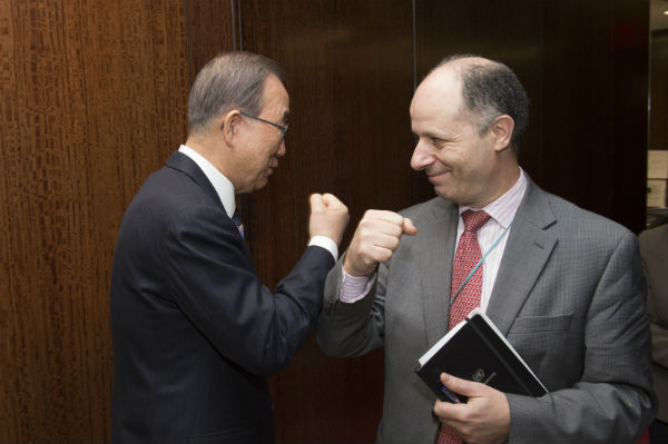 Maher fist bumps with former UN Secretary General Ban Ki-moon; typical day at the office.