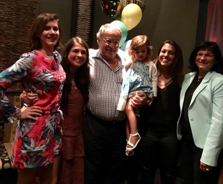 Dr. Yanes with his family in August, 2016 on his 70th birthday