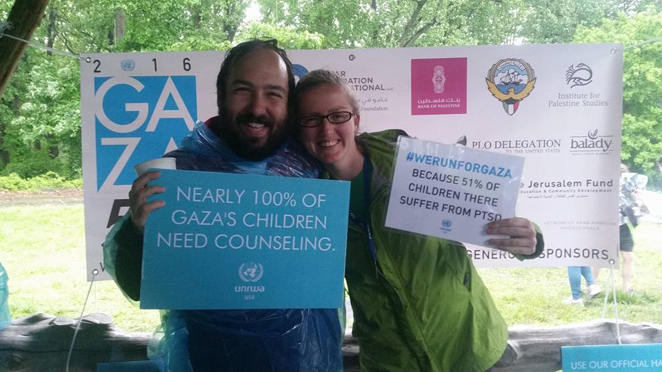 Justin (left) alongside fellow long time UNRWA USA supporter Kate Gould (right) at the 2016 DC Gaza 5K