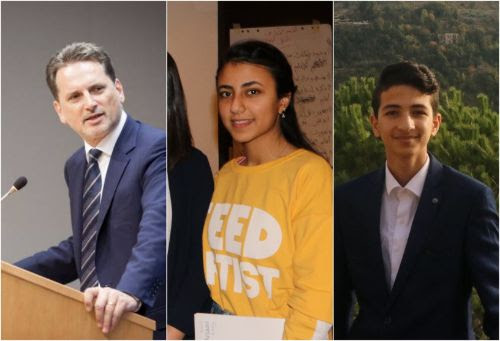 UNRWA's Commissioner-General Pierre Krähenbühl (left) and 14 year old UNRWA student parliamentarians Hanan (middle) and Hatem (right), respectively from the West Bank and the Gaza Strip, will attend the event.