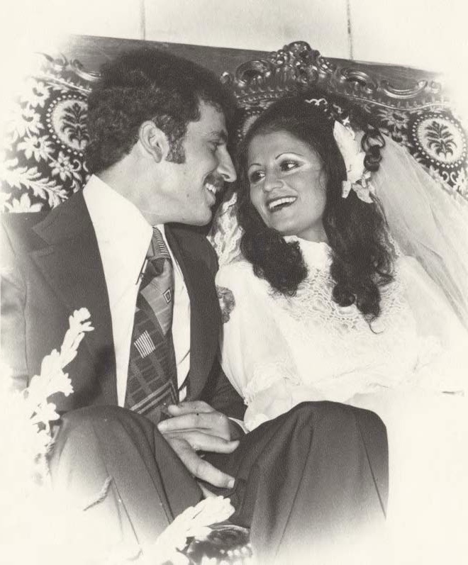 Nada and Nazih on their wedding day, 1975