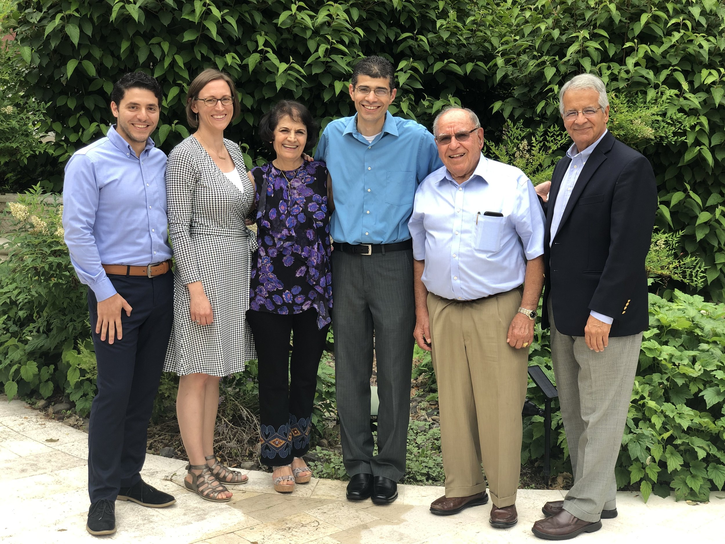 UNRWA Alumni Association (USA) Steering Committee, 2019 (from left to right: Mohammed Eid, Lori Mosher, Nada Kiblawi, Ahmed Arafat, Dr. Abed Musa, Ghassan Salameh. Not pictured: Rania Qawasma and Methal Debaj)
