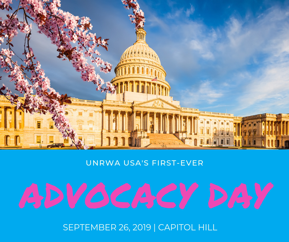 advocacy day on capitol hill september 26 - On Thursday, 9/26, the relay runners will be joined by UNRWA alumni, people who attended UNRWA schools and now live in the United States, for our first-ever Advocacy Day on Capitol Hill.This event includes meetings with key lawmakers and their staff to educate them on how UNRWA's work represents a good humanitarian investment that also supports the national security interests of our country.Contact your member of Congress to let them know you want your tax dollars to fund UNRWA
