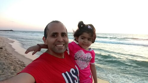 Image: Hani and his daughter at the beach in Gaza, one of the most beautiful yet most polluted Mediterranean coastlines