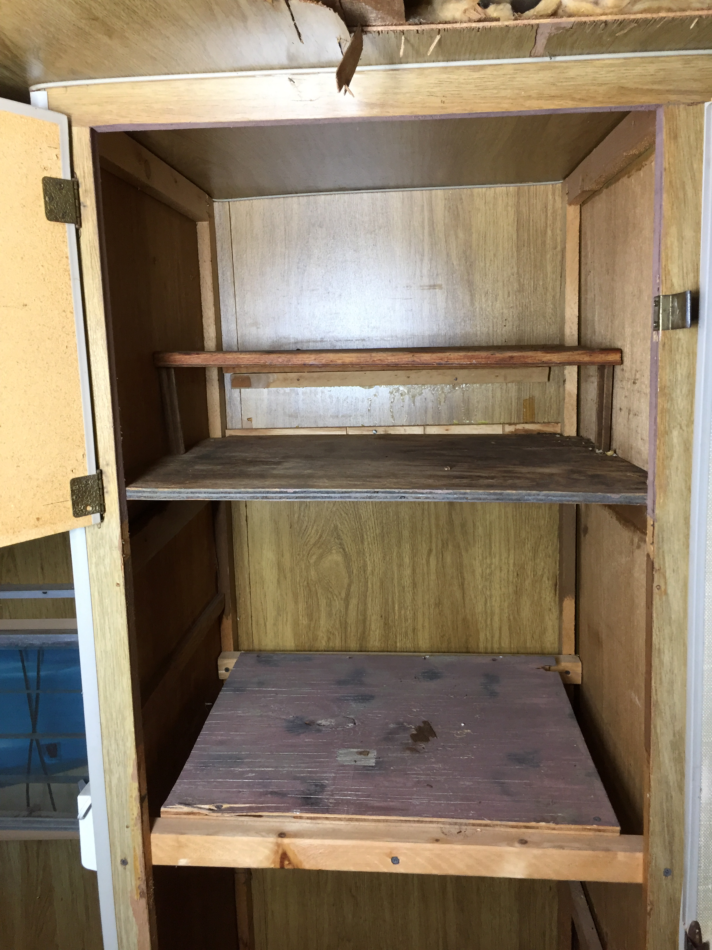 Interior detail of the top of the storage cabinet