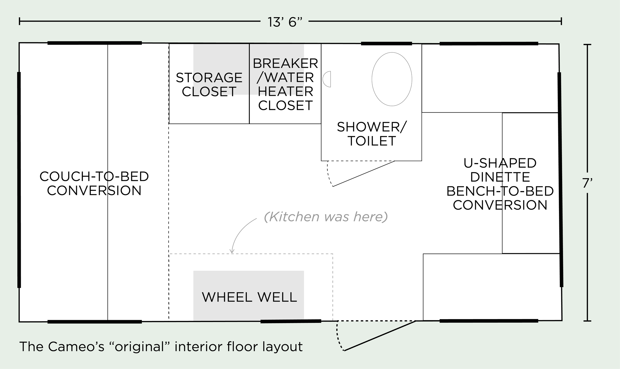 Original (as we received it) floor plan — if it looks  a little  squiffy to you, it's because this thing is most certainly not square. (It's only off by a fraction of an inch — just in enough to probably give some extra fun down the road, but not enough to make it a huge pain to design around).
