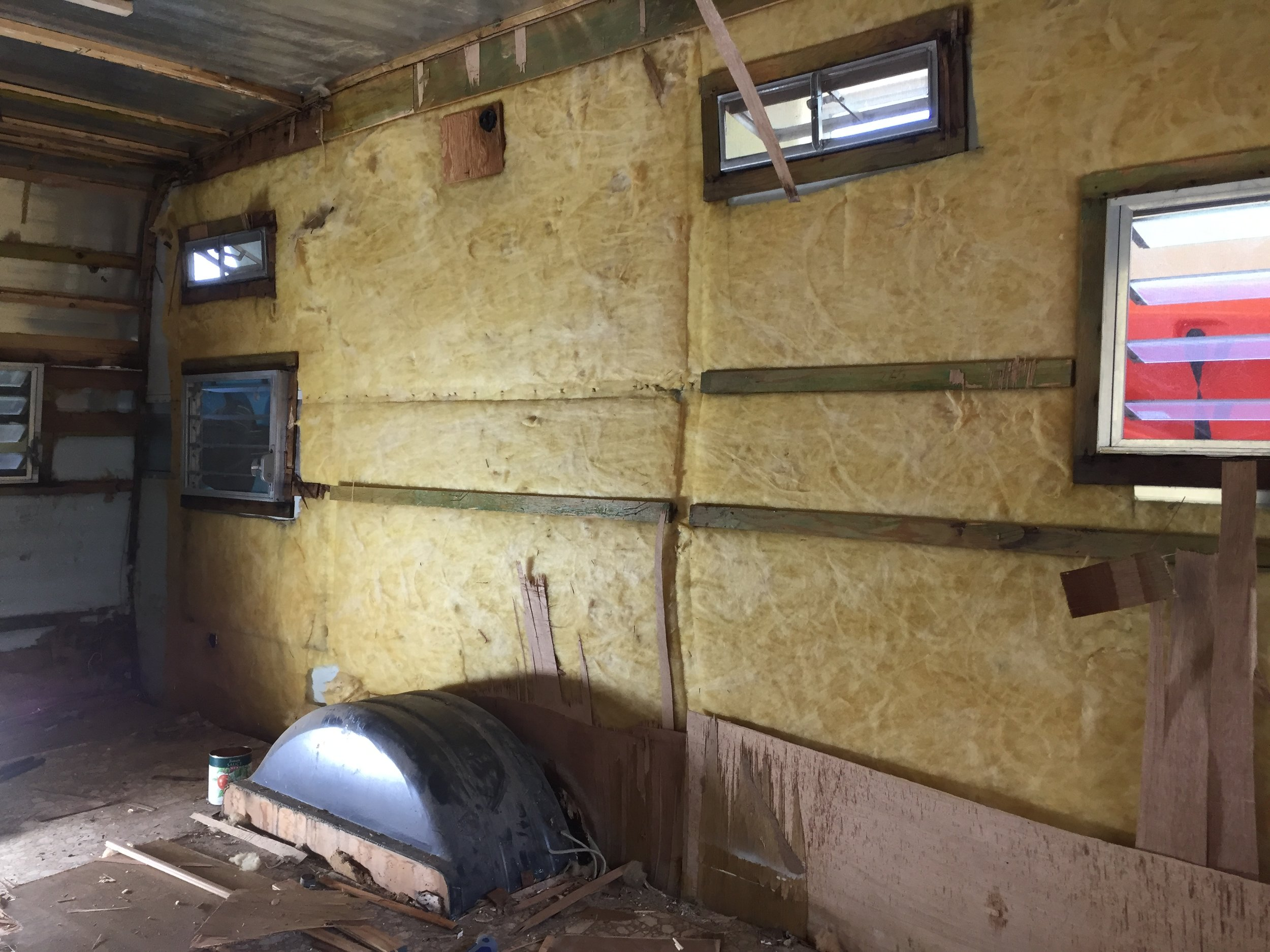 Mid-demo —wall of insulation, formerly the shower area