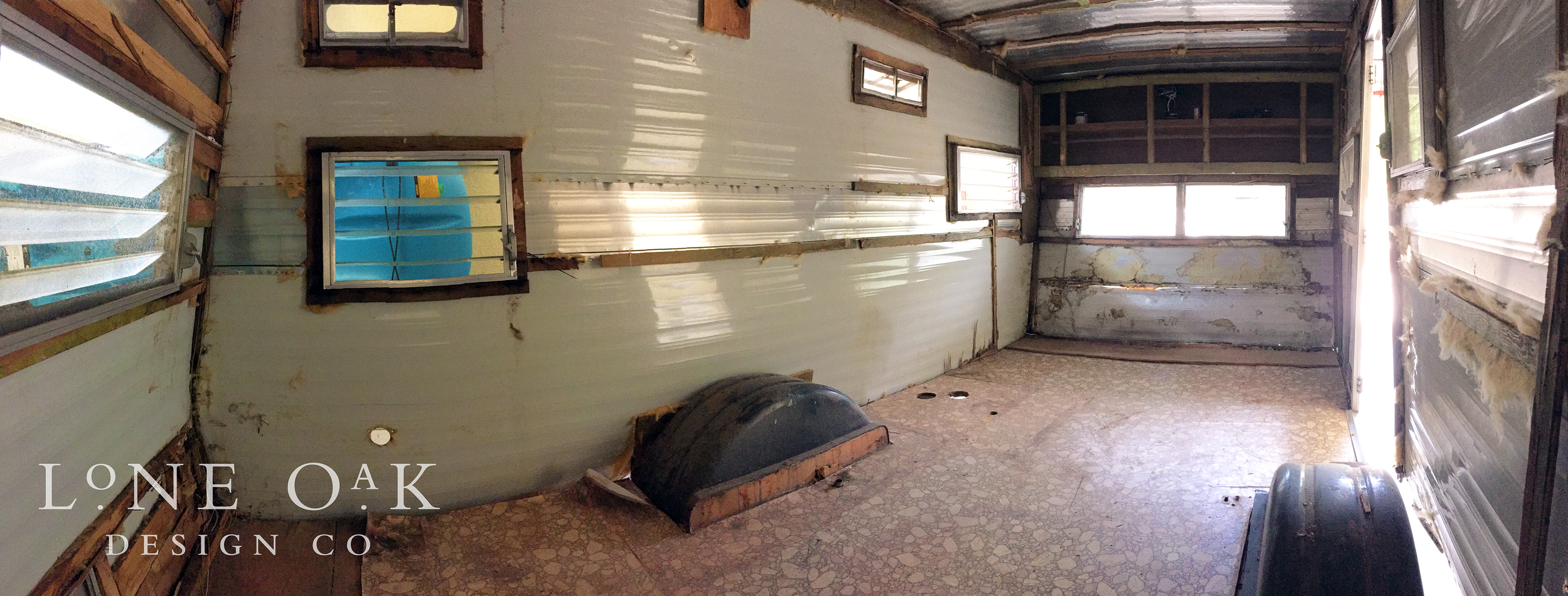 Post-demo view from the back, door-side corner of The Cameo.