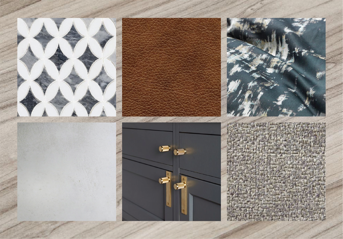 Look 3 — Light gray driftwood plank flooring + cognac leather upholstery + slate blue cabinetry + concrete counters + brass accents + neutral textured fabrics + patterned tile backsplash + colored bedding.