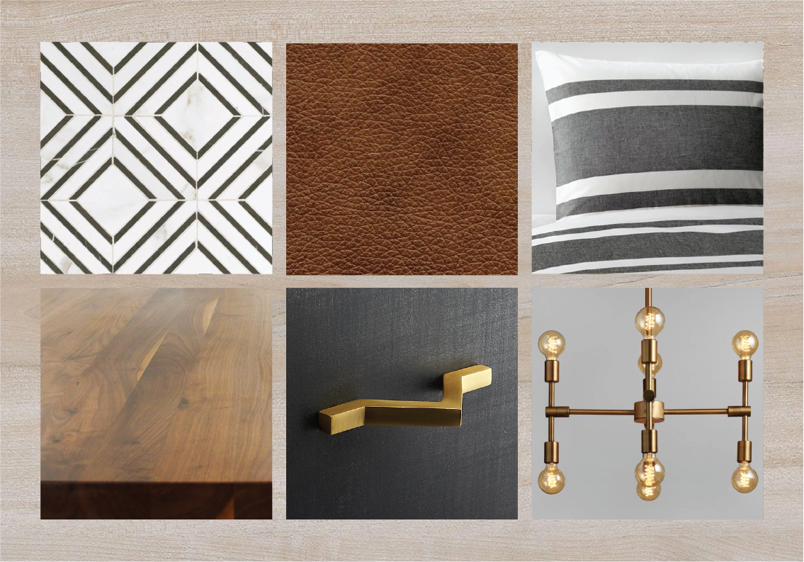 Look 6 — White oak plank flooring + cognac leather upholstery + dark gray cabinetry + brass accents + butcher block counters + neutral pattern backsplash & bedding.
