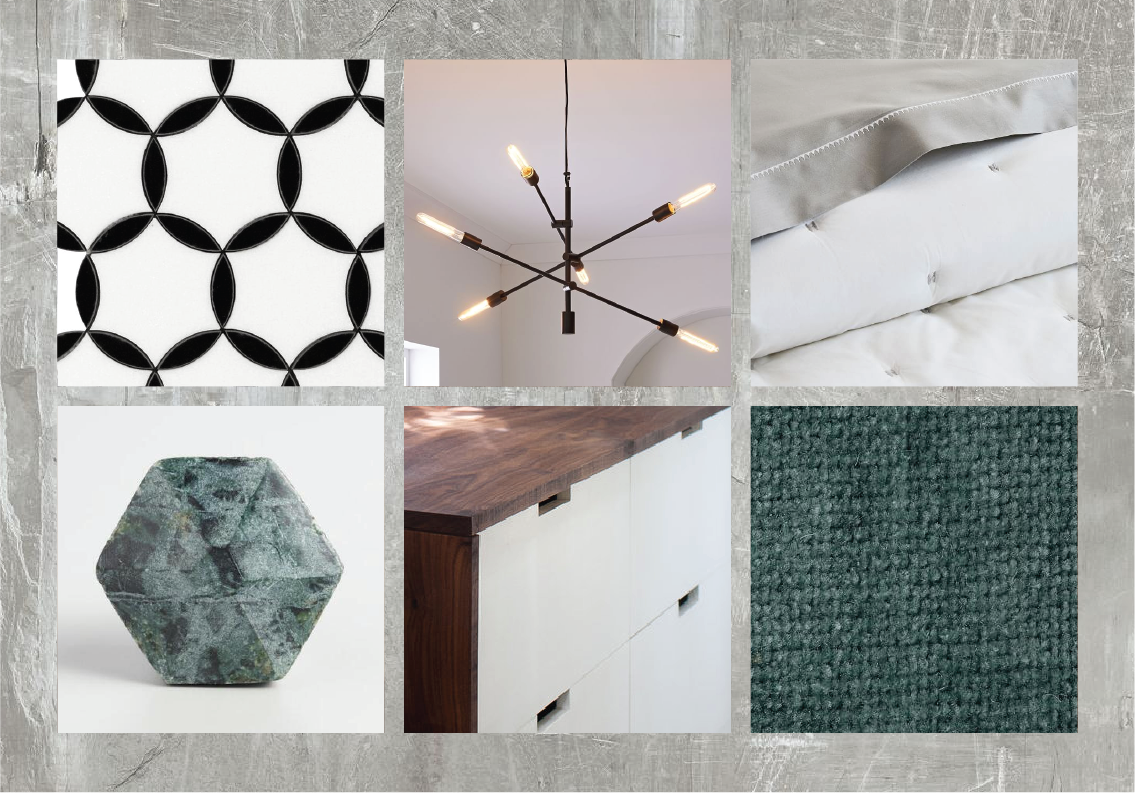 Look 7 — Concrete look flooring + white & wood flat front cabinetry + black accents + neutral pattern black & white backsplash + white bedding + teal accents.