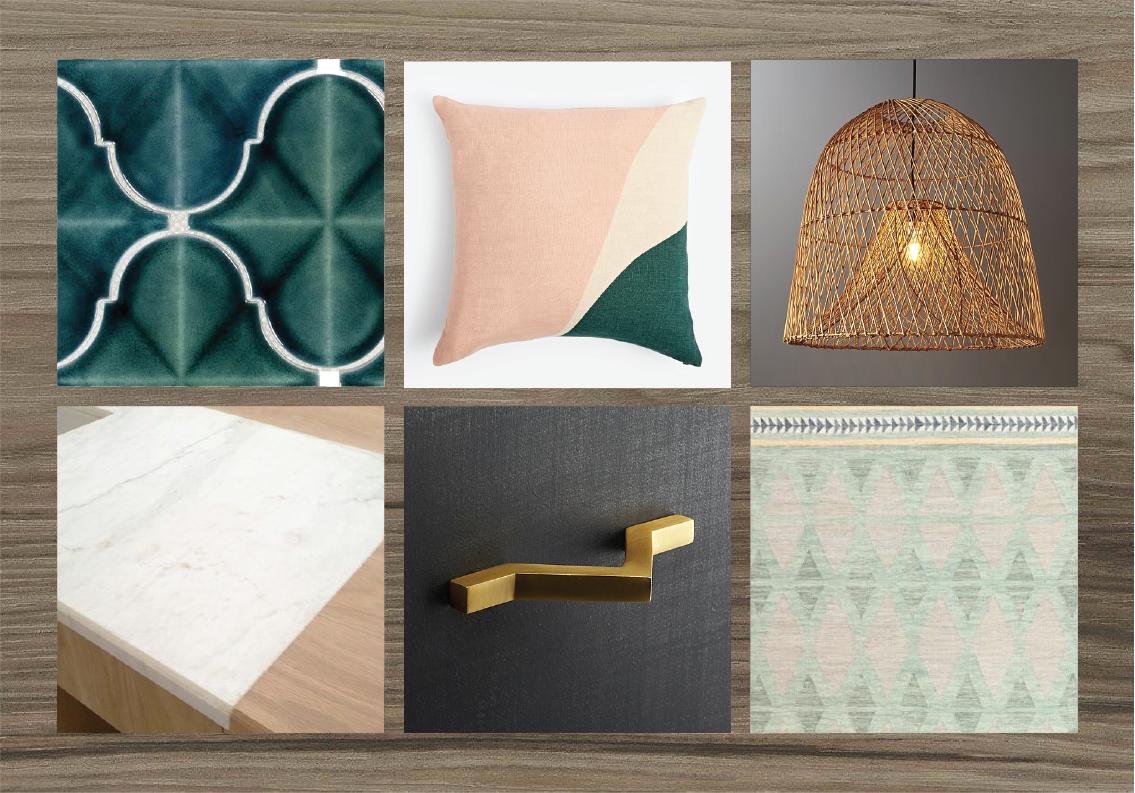 Look 8 — Medium greige plank flooring + dark gray cabinetry + brass hardware + butcher block & stone counters + colored tile backsplash + wood, jade green & blush pink accents.