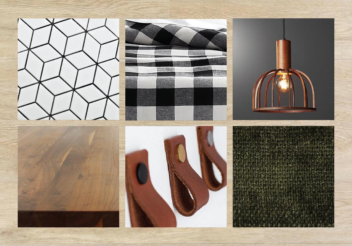Look 9 — White oak plank flooring + white cabinetry + cognac leather pulls + butcher block counters + white geometric tile backsplash + rustic black & white bedding + wood light fixtures + forest green velvet accents.