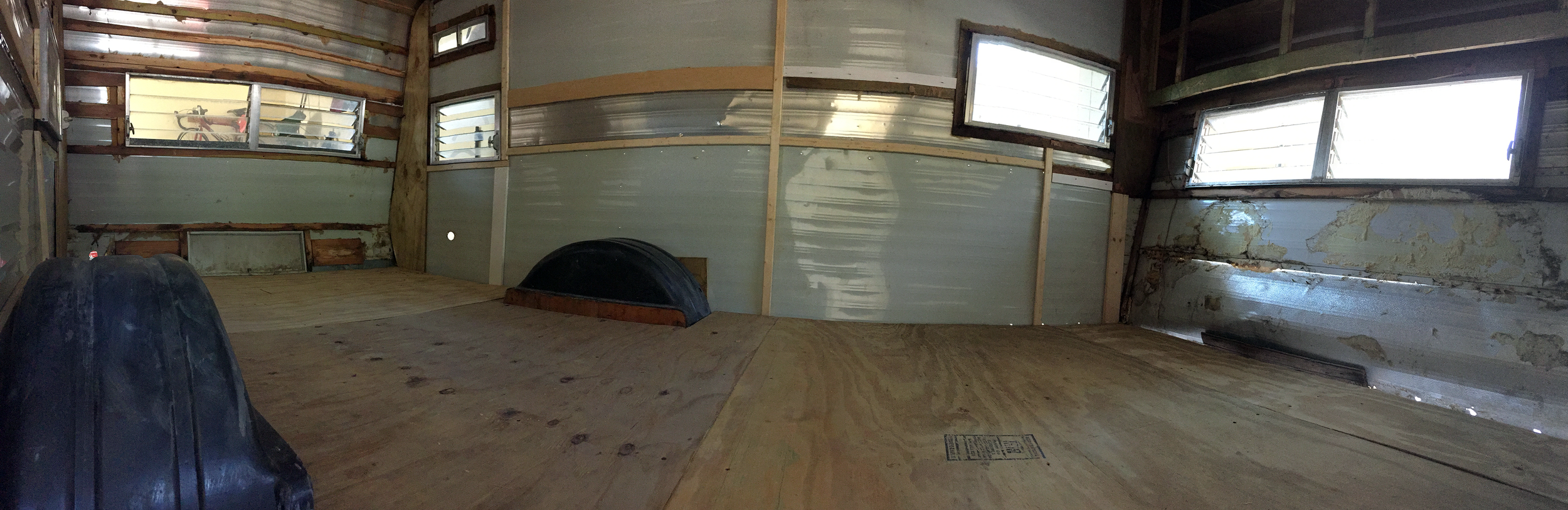The Cameo (view from the door) after plywood subfloor install.