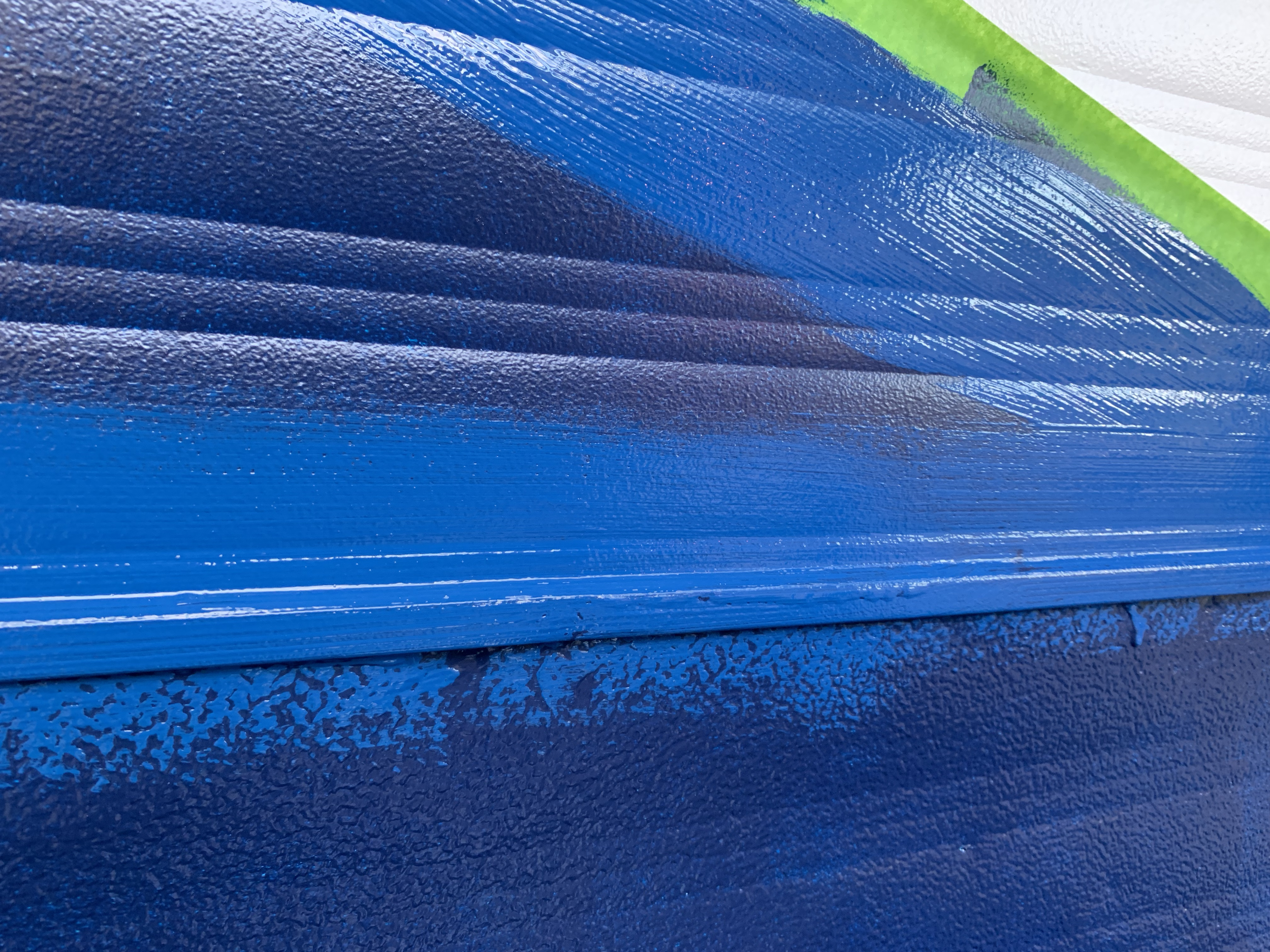 Wet color on top of two coats of dry paint