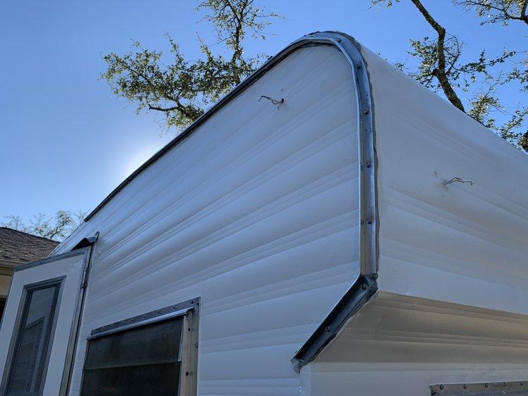 The Cameo Camper Renovation: Installing J-trim Roof Gutters