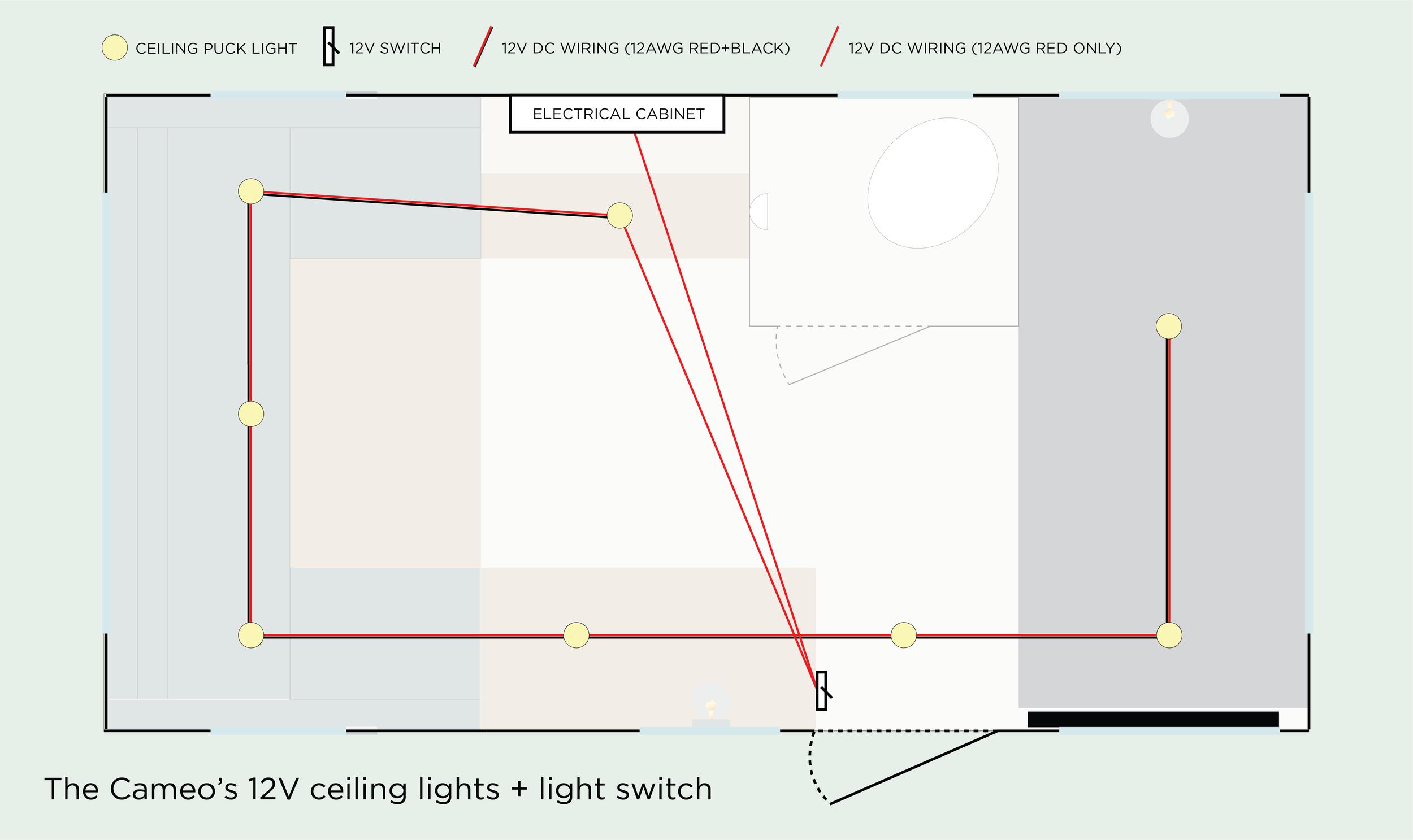 the cameo camper renovation installing interior lights