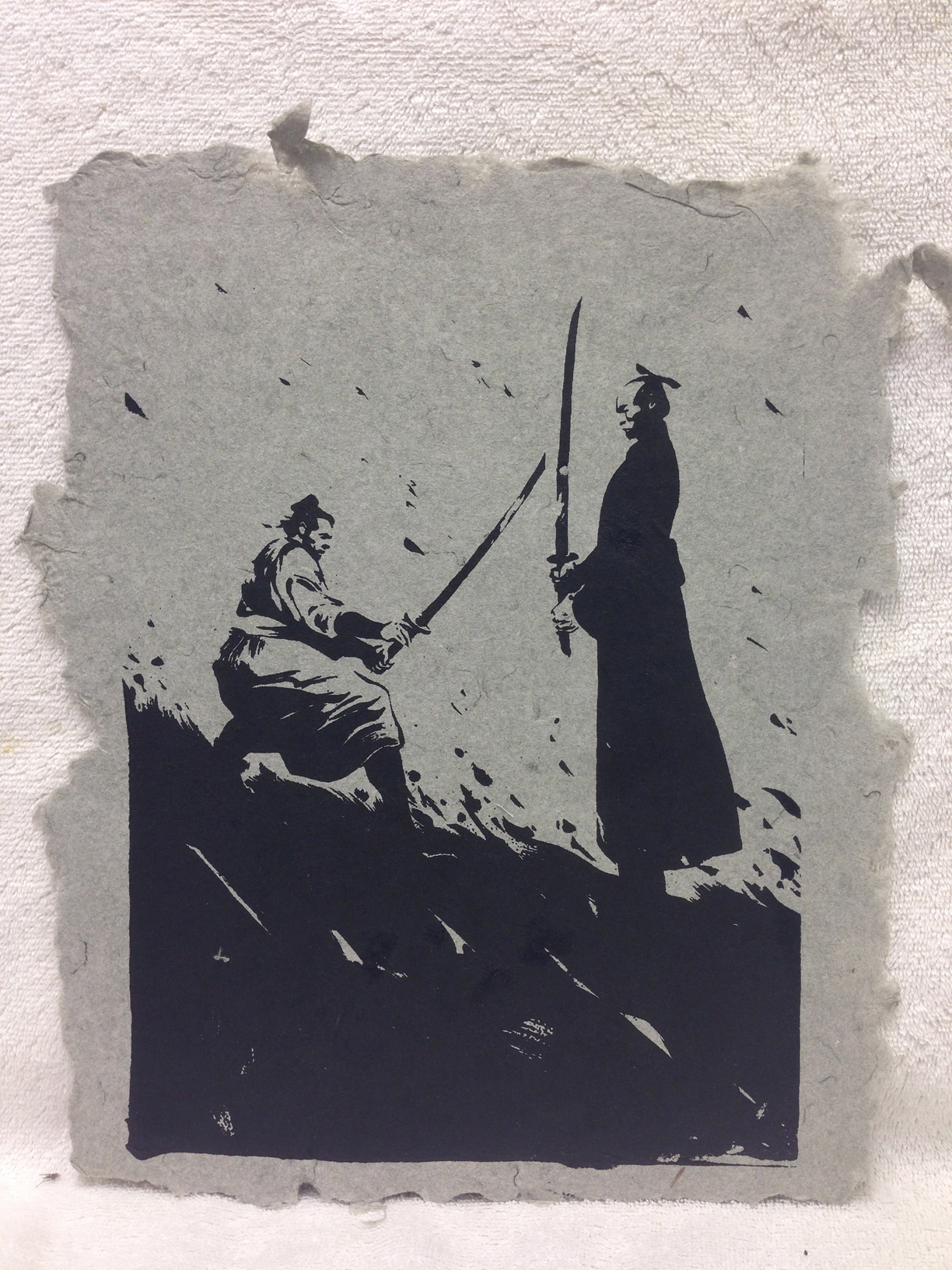 Anonymous _Samurai_ 2013 Silkscreen on handmade paper made from military uniforms Ft Belvoir Workshop IMG_0947 - Copy.jpg
