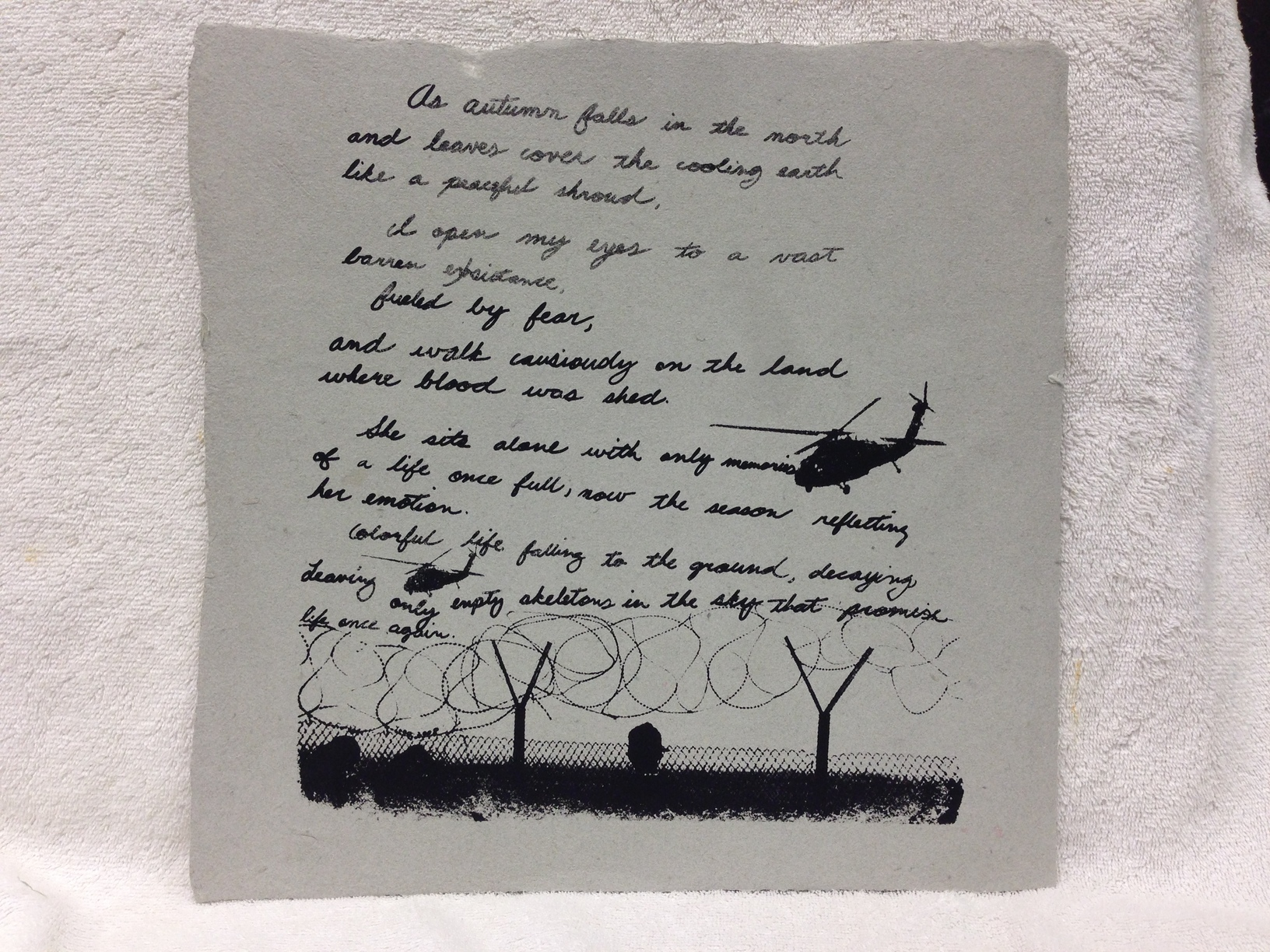 Anonymous _Untitled_ 2013 Silkscreen on handmade paper made from military uniforms Ft Belvoir IMG_1025JPG.jpg