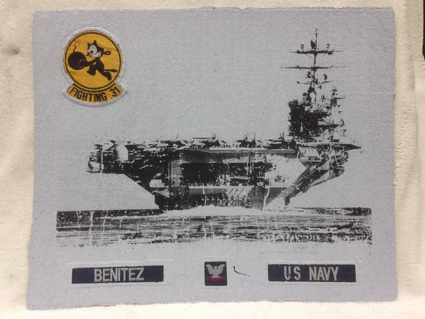 Beni Navy _Fighting 31_ 2013 Silkscreen on Handmade Paper from military uniforms 16 x 20 Montclair State University Combat Paper Class IMG_2161JPG.jpg