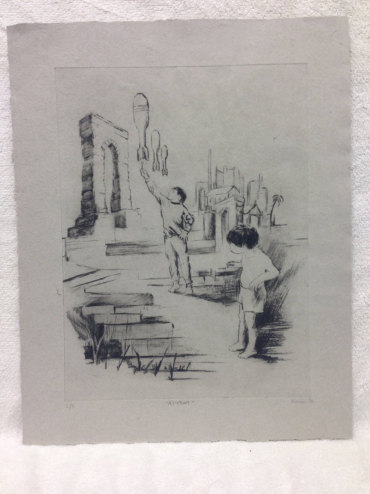 David Keefe Marines -  Iraq _Advent_ 2012 Solar Etching on Handmade Paper from military uniforms 20 x 16 PCNJ IMG_0967.jpg