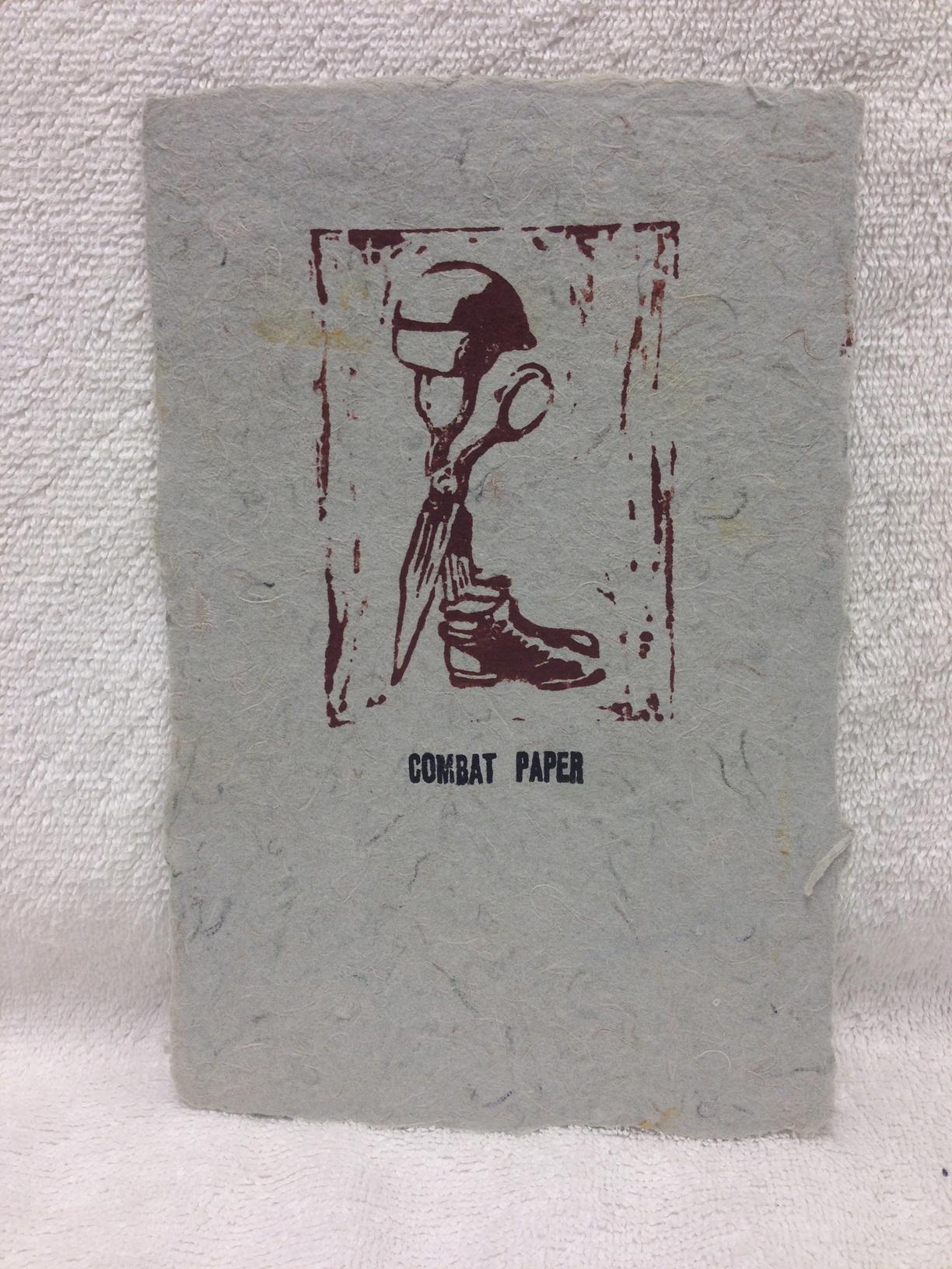 David Keefe Marines - Iraq _CPNJ Logo_ 2011 Lino-cut on Handmade Paper from military uniforms 8 x 5 PCNJ IMG_0952.jpg