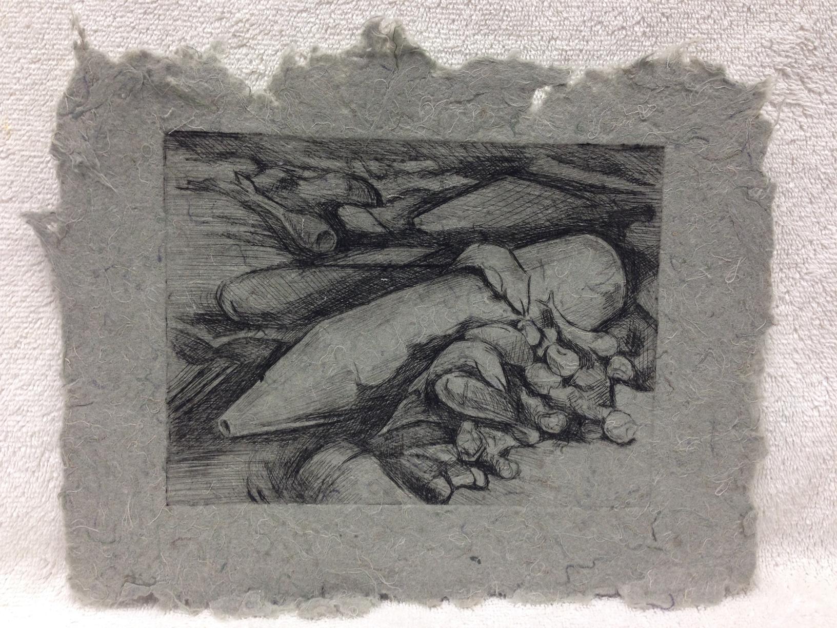David Keefe Marines - Iraq _Fish Tank Shells Mortars_ 2011 Drypoint etching on Handmade Paper from military uniforms 8 x 10 PCNJ IMG_1022JPG.jpg