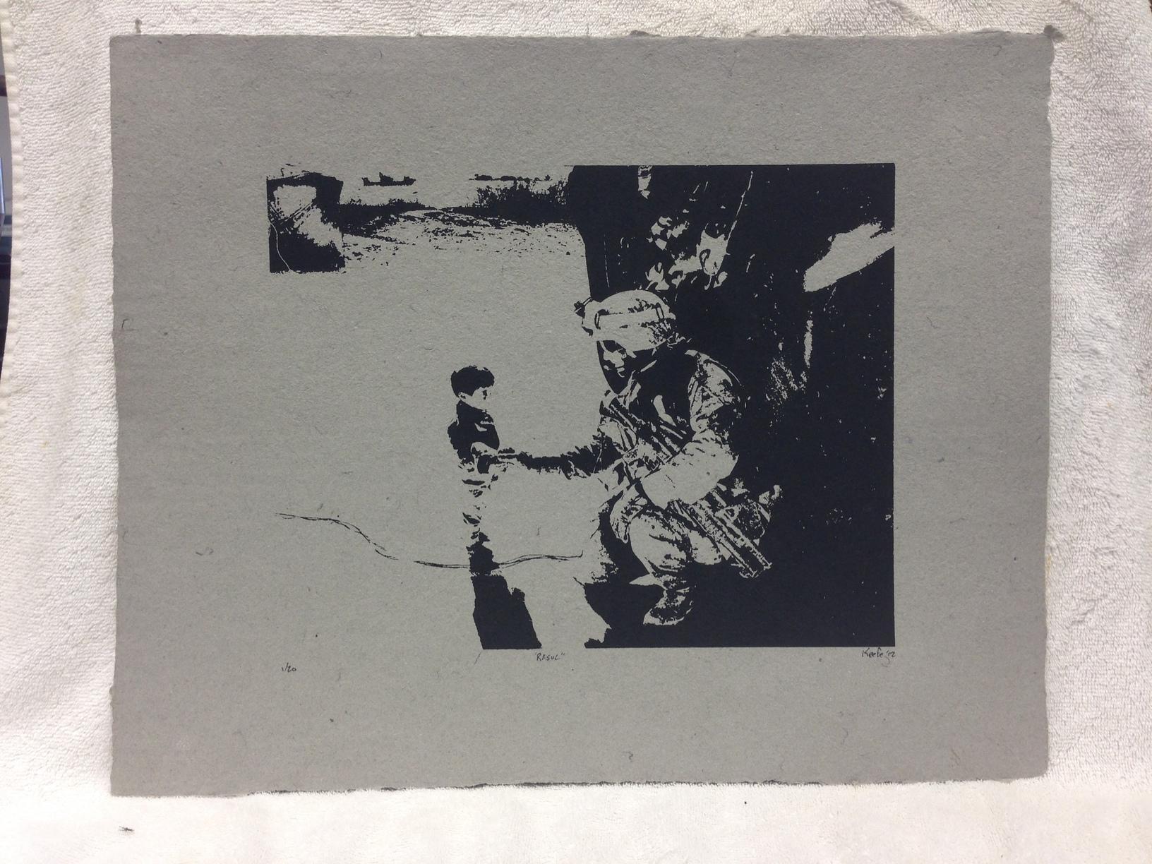 David Keefe Marines - Iraq _Rasul_ 2012 Silkscreen on Handmade Paper from military uniforms 16 x 20 PCNJ IMG_0959JPG.jpg