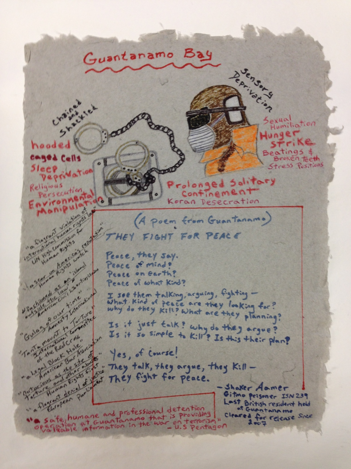 James Yee Army - Guantanamo Bay _Guantanamo Bay_ 2013 Marker on Handmade paper made from military uniforms PCNJ .jpg