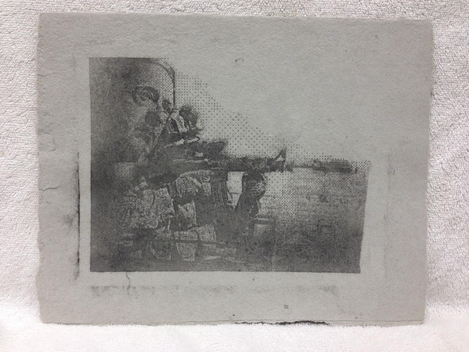 Joe Merritt Marines - Afghanistan _Untitled_ 2013 Silkscreen on handmade paper made from military uniforms Ft Belvoir Workshop IMG_1032JPG.jpg