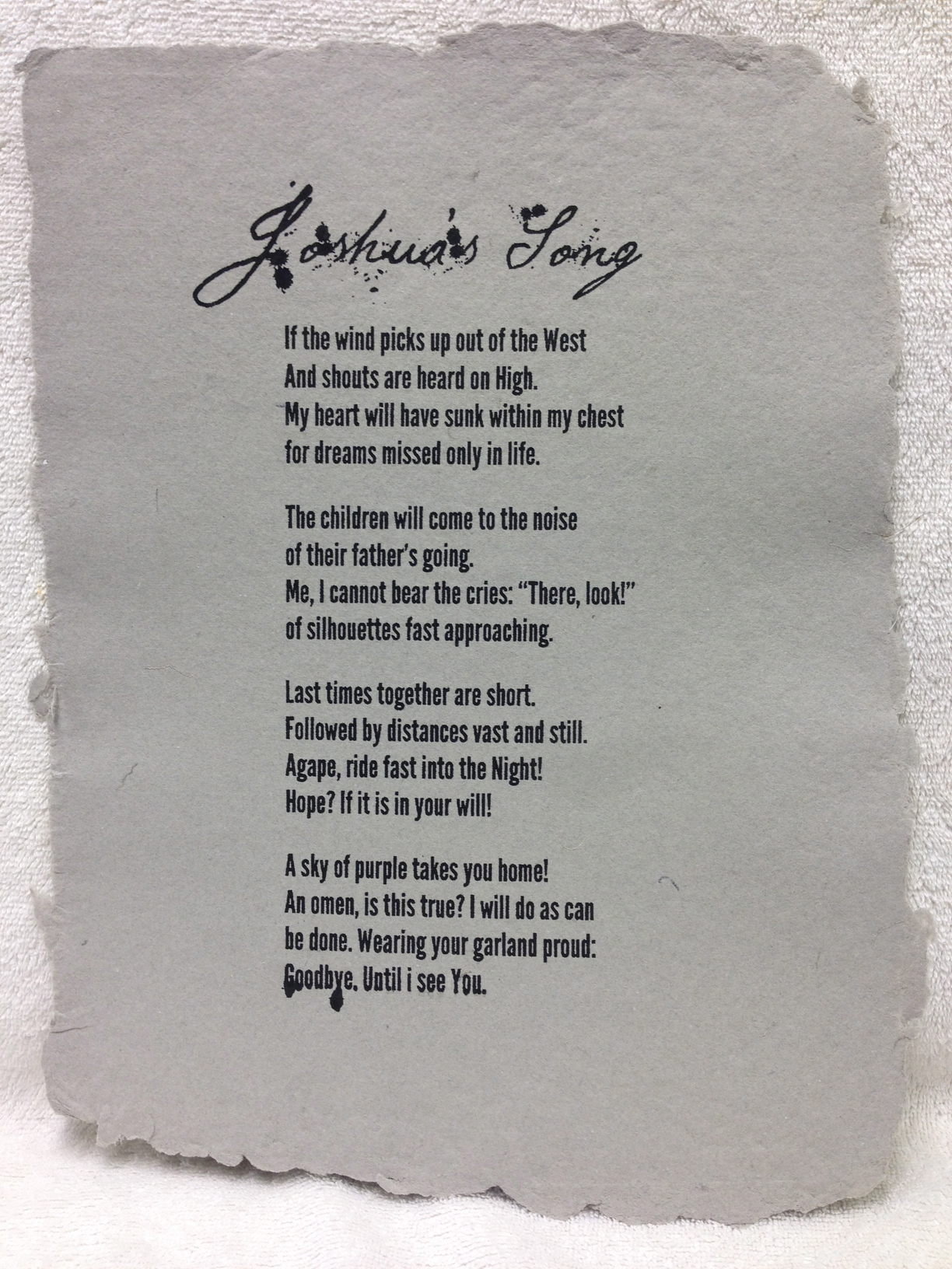 Michael Callahan Marines - Iraq _Joshuas Song_ 2013 Silkscreen on Handmade Paper from military uniforms 14 x 11 Monmouth University Workshop IMG_1044.jpg