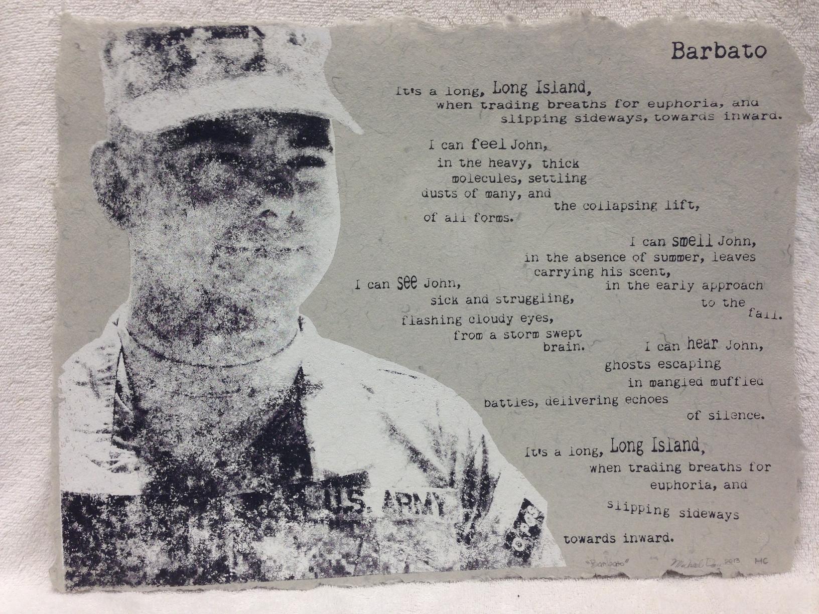 Michael Day Marines - Iraq _Barbato_ 2013 Silkscreen on Handmade Paper from military uniforms 12 x 18 PCNJ Weekly Workshop IMG_0964JPG.jpg