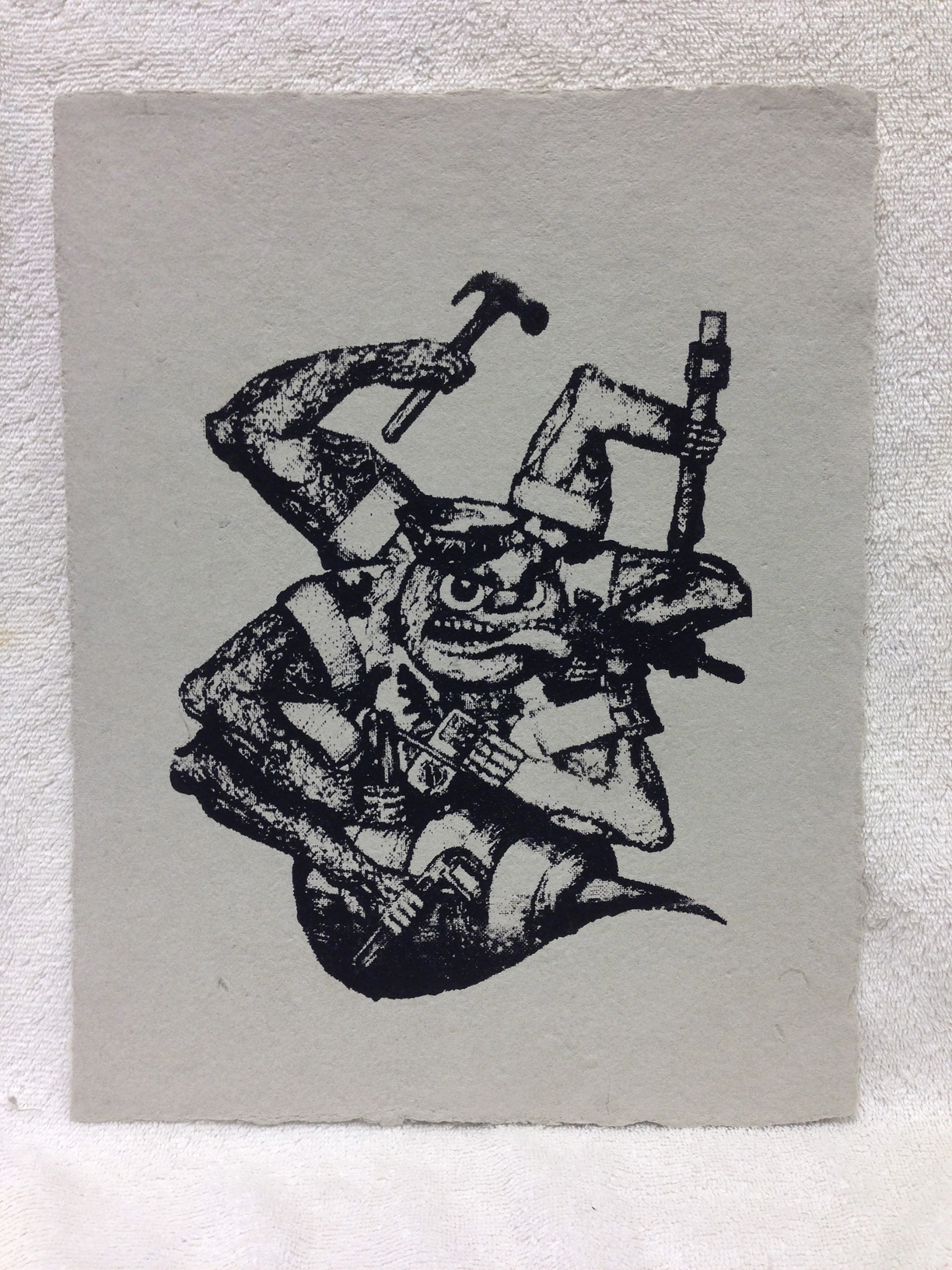 Mike Navy - Iraq _SeaBee_ 2013 Silkscreen on handmade paper made from military uniforms Ft Belvoir Workshop IMG_1017.jpg