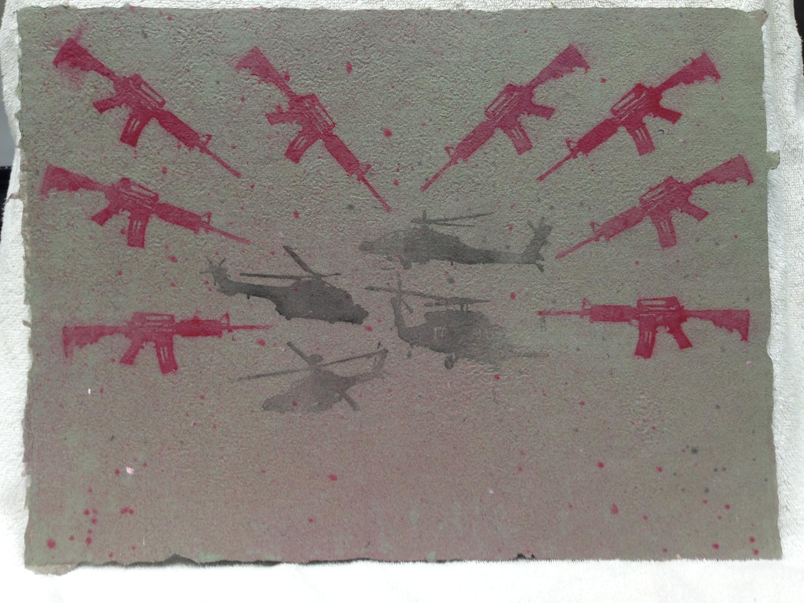 Sarah Mess Army - Somalia _Somalia_ 2013 Pulp Spray on Handmade Paper from military uniforms 15 x 20 IMG_1040JPG.jpg